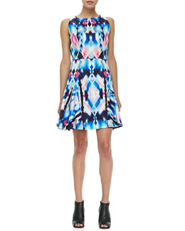 Milly Printed Flounce-Skirt Dress