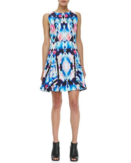 Printed Flounce-Skirt Dress