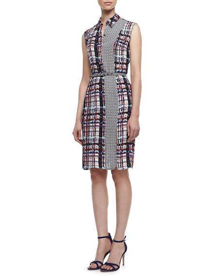 Plaid Sleeveless Jacket Dress