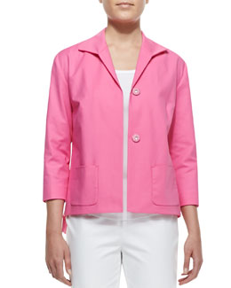 Lafayette 148 New York Reina Snap-Front Topper Jacket, Dahlia