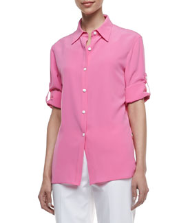 Lafayette 148 New York Theo Sandwashed Silk Blouse, Dahlia
