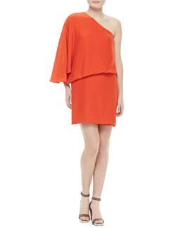 Elizabeth and James Helma One-Shoulder Flutter Dress