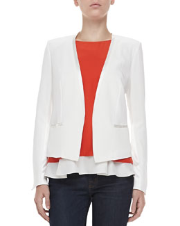 Elizabeth and James Bryant Crepe Open Jacket, Ivory