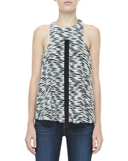 Elizabeth and James Evie Printed Silk Top