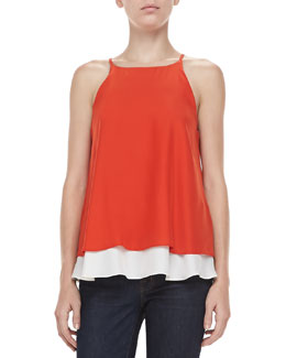 Elizabeth and James Fern Double-Layer Silk Top