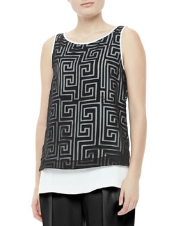 Elizabeth and James Martine Sheer-Overlay Tunic