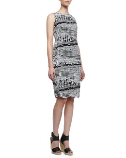 Lafayette 148 New York Faith Silk Two-Color Multi-Print Sleeveless Dress