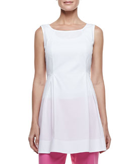 Lafayette 148 New York Julienne Pleated Poplin Sleeveless Top