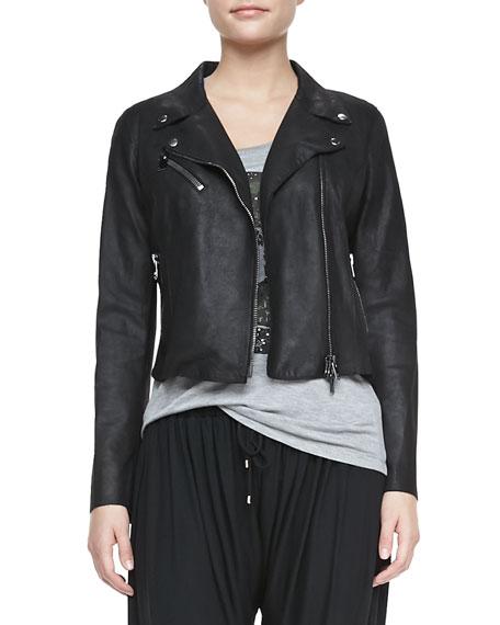 Cropped Leather Motorcycle Jacket