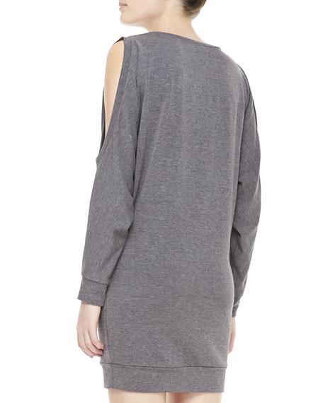 Heathered Cold-Shoulder Jersey Dress