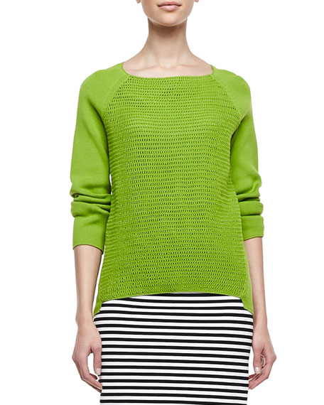 Open Weave Long-Raglan-Sleeve Sweater