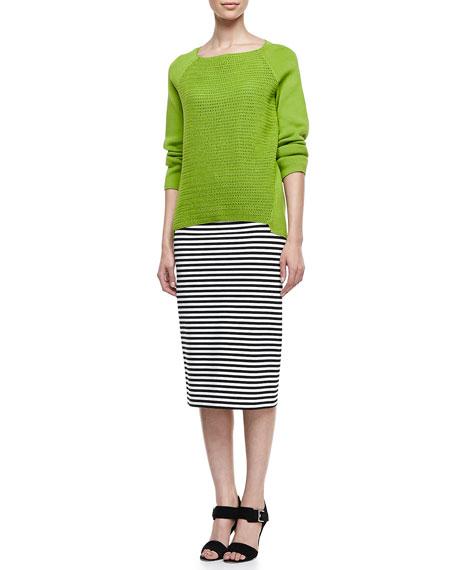 Long Striped Pencil Skirt
