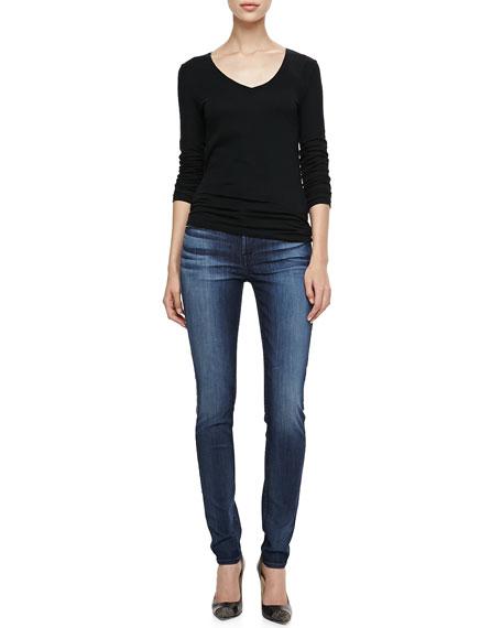 Faded Dark-Wash Skinny Jeans