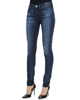 7 For All Mankind Faded Dark-Wash Skinny Jeans