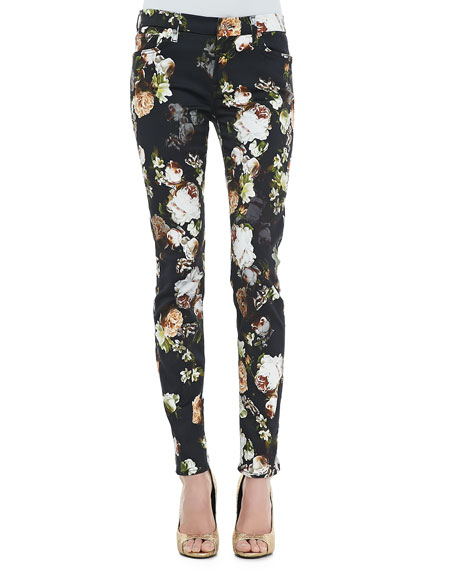 The Skinny Nighttime Floral-Print Jeans
