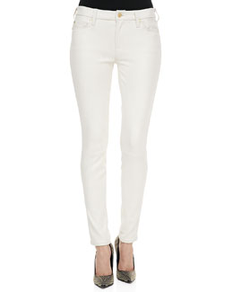 7 For All Mankind Polished Twill Skinny Pants, Antique White