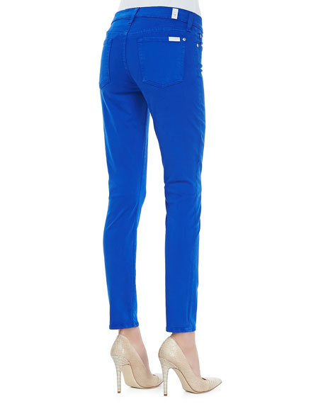 Luxe Twill Skinny Ankle Pants, Cobalt