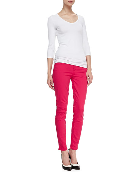 Luxe Twill Skinny Ankle Jeans, Fuchsia