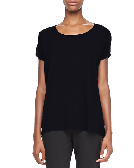 Rhonda Knit Short-Sleeve Top, Black