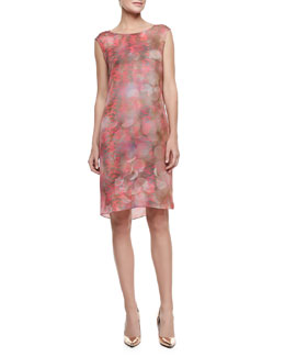 Elie Tahari Gabby Sleeveless Snake-Print Shift Dress, Mars Clay