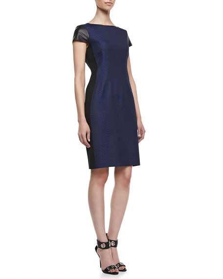 Lolly Jacquard Leather-Sleeve Dress
