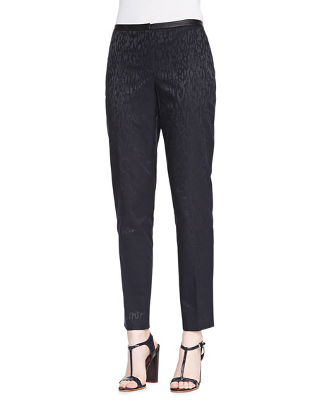 Jillian Animal-Print Jacquard Pants