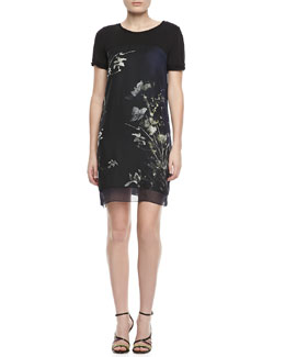 Elie Tahari Maudette Reversible Floral-Print Dress