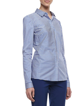 Olina Long-Sleeve Striped Blouse, Neptune Blue/White