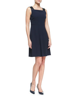 Elie Tahari Shira Sleeveless Dress with Leather Straps