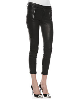 J Brand Jeans Julia Leather Biker Pants, Noir