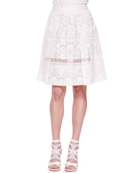 Rebecca Taylor Pleated Lace Sheer-Stripe Skirt