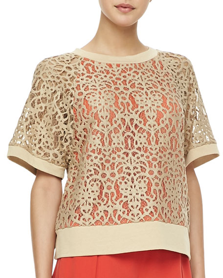 Short-Sleeve Lace Sweatshirt