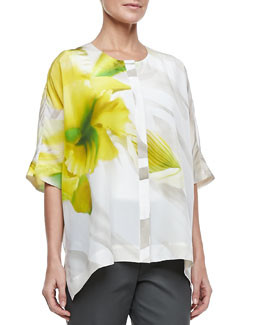 Lafayette 148 New York Jordana Printed Silk Blouse