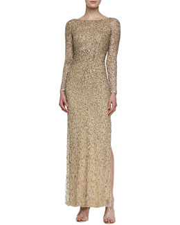 Aidan Mattox Long-Sleeve Ombre Beaded Gown