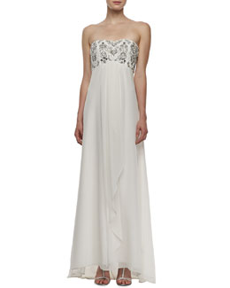 Aidan Mattox Strapless Beaded Draped-Front Gown