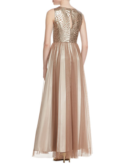 Sleeveless Leather & Chiffon Gown