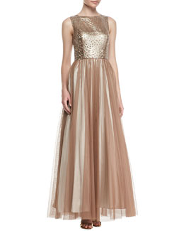 Aidan Mattox Sleeveless Leather & Chiffon Gown