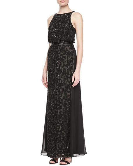 Halter Blouson Lace Gown, Black
