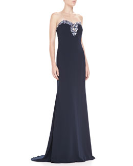 Badgley Mischka Strapless Sweetheart Beaded Gown