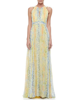 Badgley Mischka Printed Chiffon Halter Gown