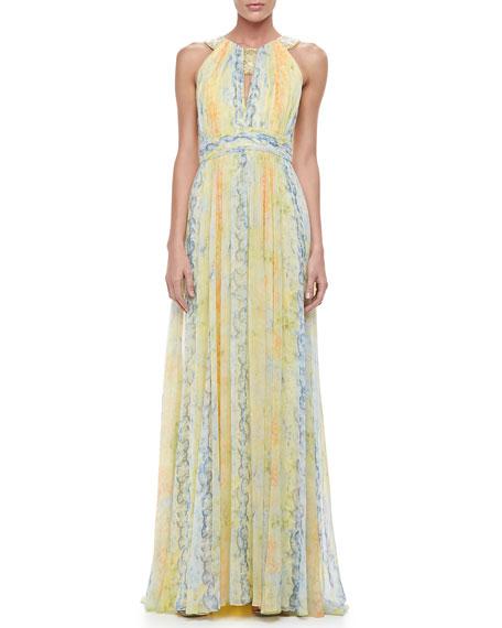Printed Chiffon Halter Gown