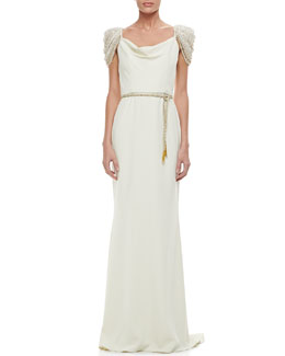 Badgley Mischka Beaded Short-Sleeve Belted Gown