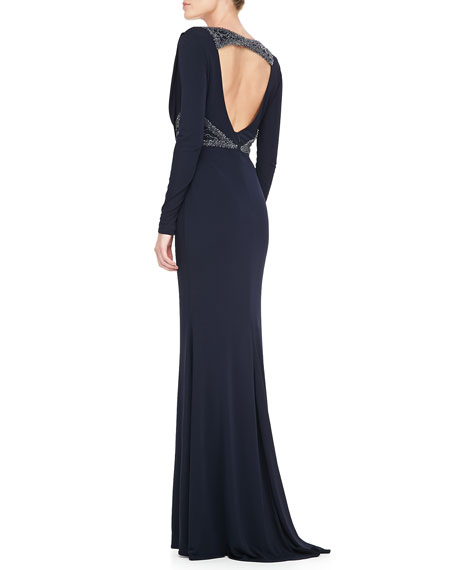 Cowl-Neck Beaded Waist Gown