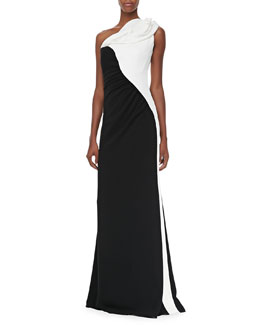 Badgley Mischka Two-Tone One-Shoulder Gown