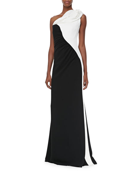 Two-Tone One-Shoulder Gown