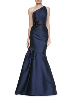 ML Monique Lhuillier One-Shoulder Side Bead & Pleated Gown, Navy