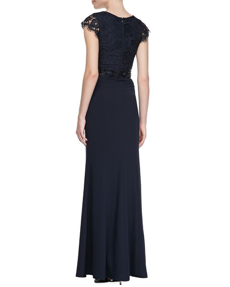 Cap Sleeve Lace Bodice Gown, Navy
