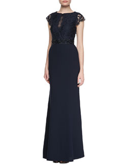 ML Monique Lhuillier Cap Sleeve Lace Bodice Gown, Navy