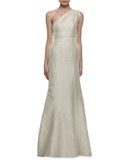 ML Monique Lhuillier Animal-Textured One-Shoulder Gown