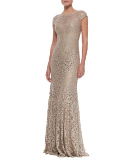 ML Monique Lhuillier Foil Lace Cap Sleeve Gown